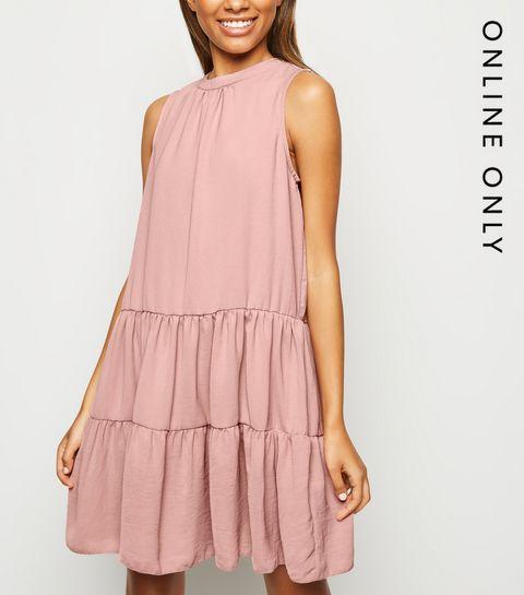 07e3b8857e264 Pink Herringbone Sleeveless Smock Dress · Pink Herringbone Sleeveless Smock  Dress ...