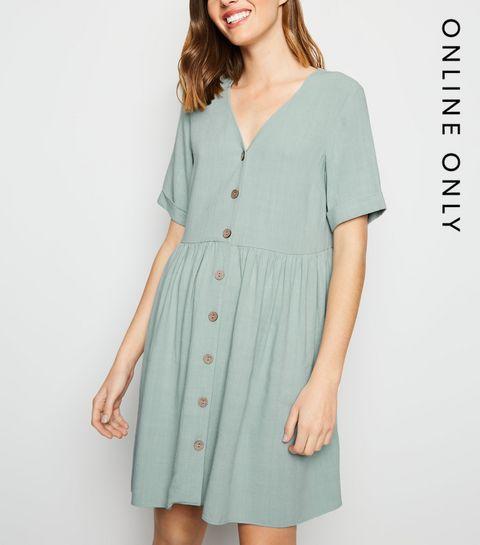5673aba1bb8 ... Mint Green Button Up Linen-Look Dress ...