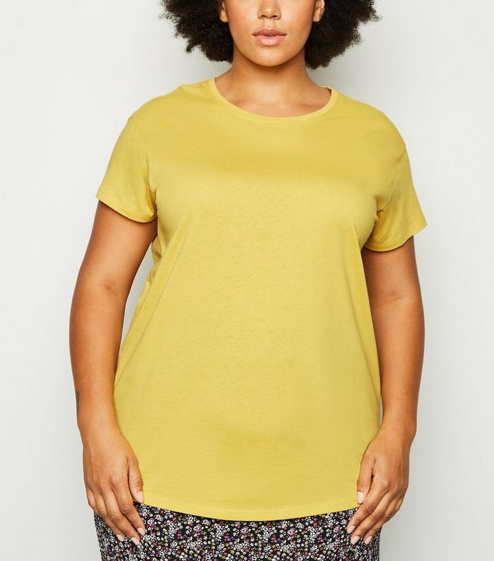 New Look Curves Yellow Organic Cotton Oversized T-Shirt