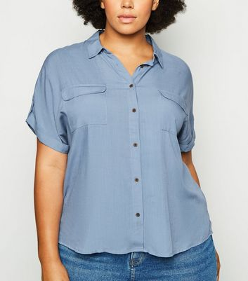 Curves Blue Double Pocket Short Sleeve Shirt