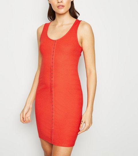 45e594b5696a ... Red Ribbed Hook and Eye Mini Dress ...