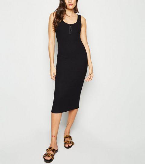 e7969f7d9507a ... Black Ribbed Hook and Eye Midi Dress ...