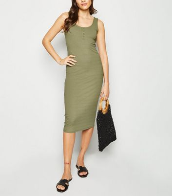 Khaki Ribbed Hook and Eye Midi Dress