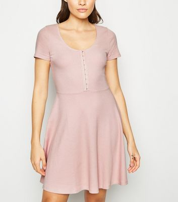 Pink Ribbed Hook and Eye Skater Dress