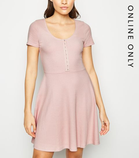 aa1f307957ca ... Pink Ribbed Hook and Eye Skater Dress ...