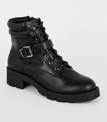 Black Leather-Look Lace Up Hiker Boots