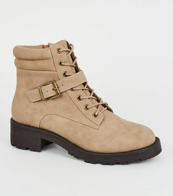 Light Brown Leather-Look Lace Up Hiker Boots