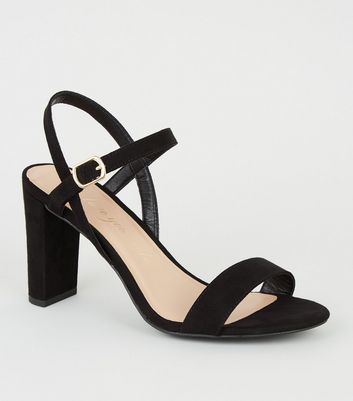 Extra Wide Fit Black Suedette Block Heel Sandals