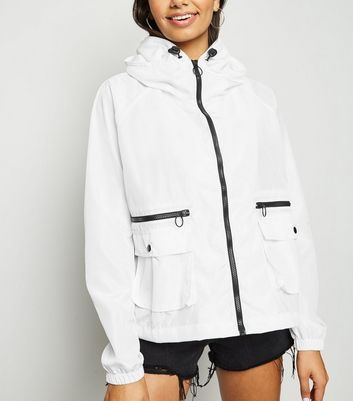 Tall White Windbreaker Jacket