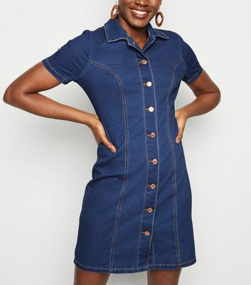 Tall Blue Button Up Denim Bodycon Dress