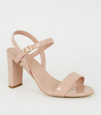 Extra Wide Fit Nude Patent Block Heels
