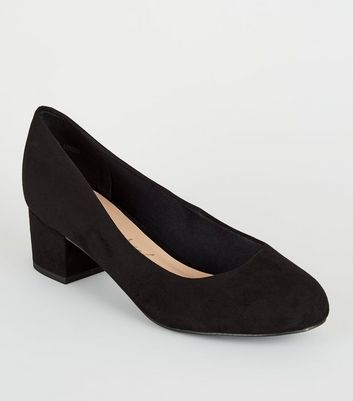 Extra Wide Fit Black Low Block Heel Court Shoes