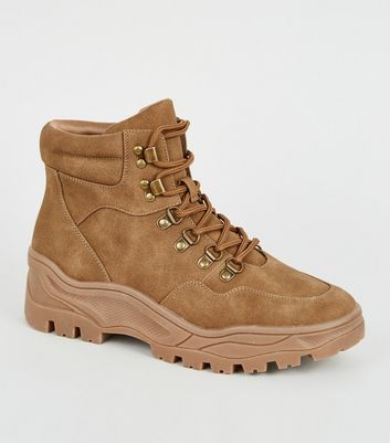 Tan Leather-Look Chunky Hiker Boots