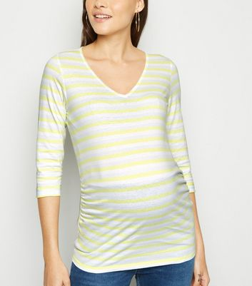 Maternity White Multi Stripe 3/4 Sleeve Top