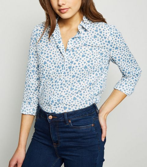 6f24d093b0d ... White Heart Print Long Sleeve Shirt ...