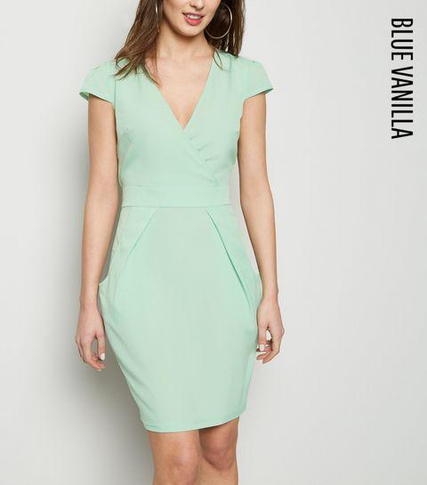 d585cdf24a ... Blue Vanilla Mint Green Tulip Wrap Dress ...