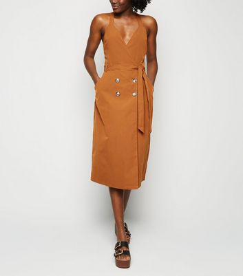 Blue Vanilla Tan Button Up Wrap Midi Dress
