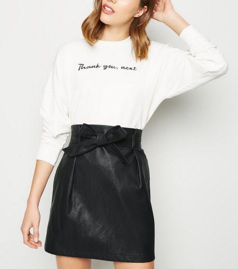 6b415cc447 ... Black Leather-Look Paperbag Mini Skirt ...