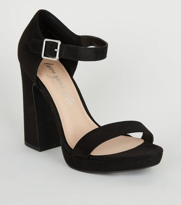 Black Suedette 2 Part Platform Block Heels