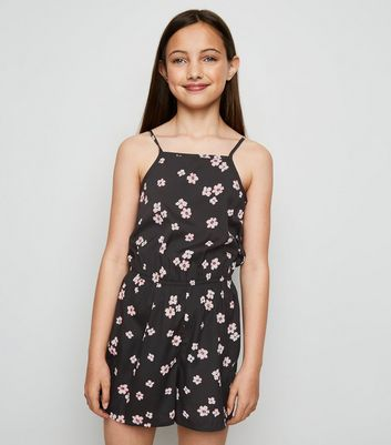 Girls Black Floral High Neck Playsuit