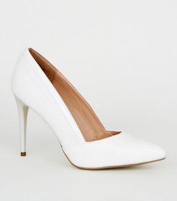White Faux Croc Panel Court Shoes