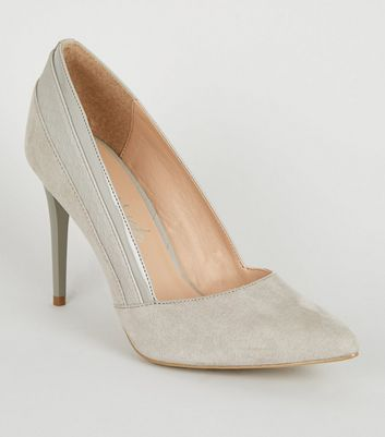 Grey Suedette Mixed Finish Court Shoes
