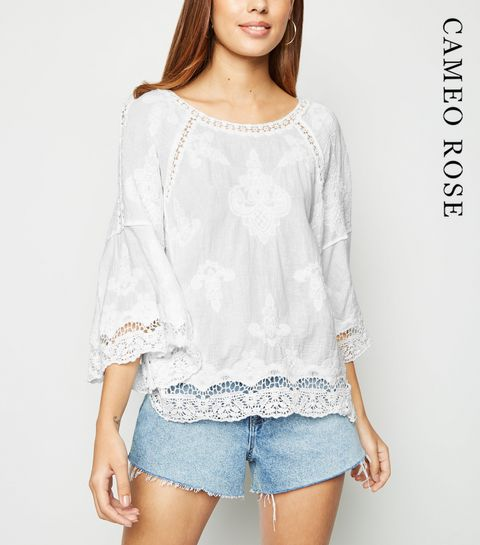 e311ed98093c ... Cameo Rose White Crochet Trim Top ...