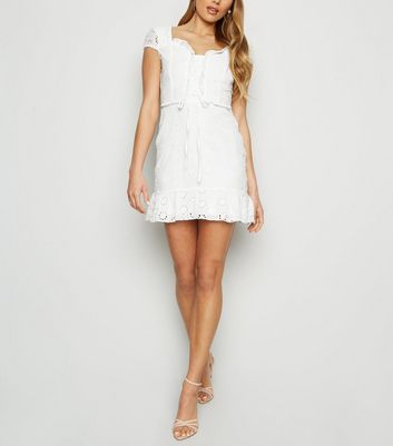 Parisian White Broderie Lace Up Dress