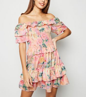 Parisian Pink Floral Shirred Tiered Dress