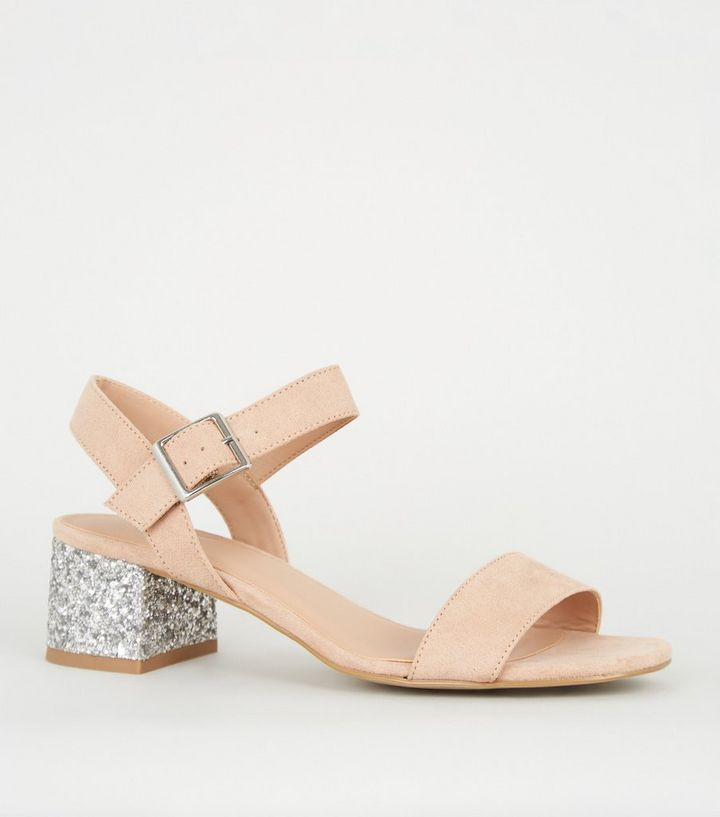 4452bd9230a Girls Nude Glitter Block Heel Sandals Add to Saved Items Remove from Saved  Items