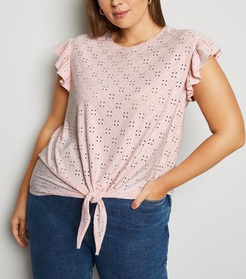 Curves Pale Pink Broderie Tie Front T-Shirt