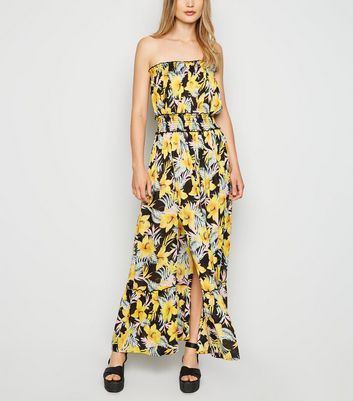 Black Floral Tropical Maxi Beach Dress