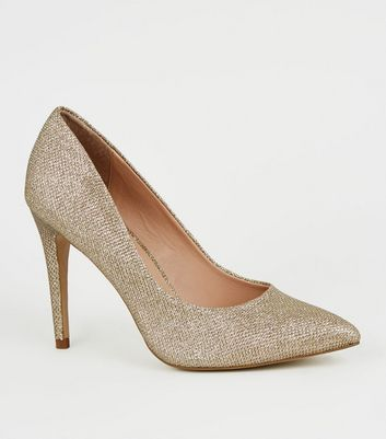 Gold Glitter Pointed Stiletto Court Shoes