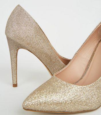 Gold Glitter Pointed Stiletto Court
