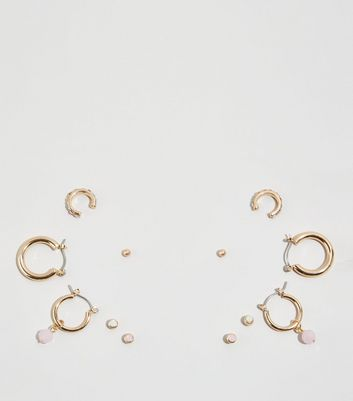6 Pack Gold Mixed Stud and Hoop Earrings
