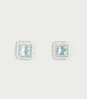Blue Cubic Zirconia Square Stud Earrings