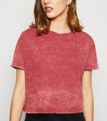 Rust Acid Wash Crop Boxy T-Shirt