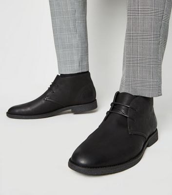 Black Leather-Look Desert Boots | New Look