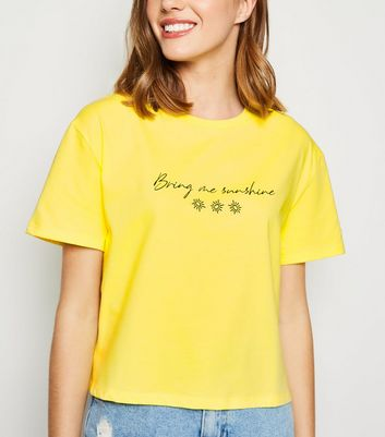 Yellow Bring The Sunshine Slogan Boxy T-Shirt
