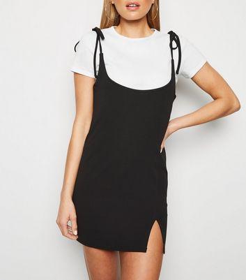 Cameo Rose Black 2 in 1 Tie Shoulder Dress New Look