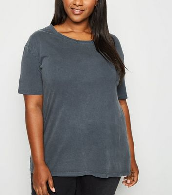 Curves Dark Grey Acid Wash Oversized T-Shirt