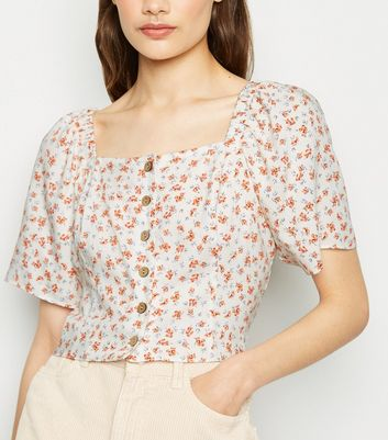 White Ditsy Floral Button Up Top