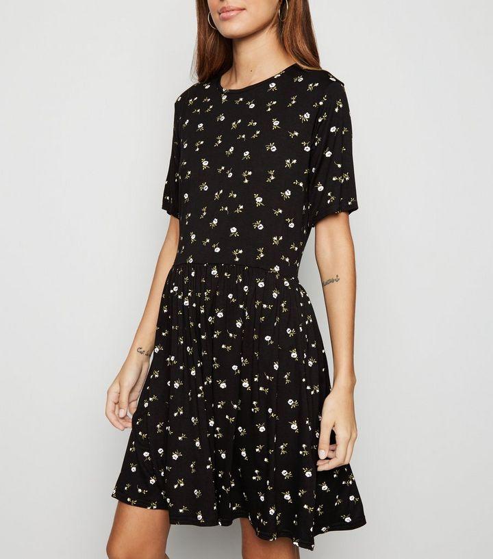 de4fa1c0f018 Black Floral Jersey Mini Smock Dress | New Look