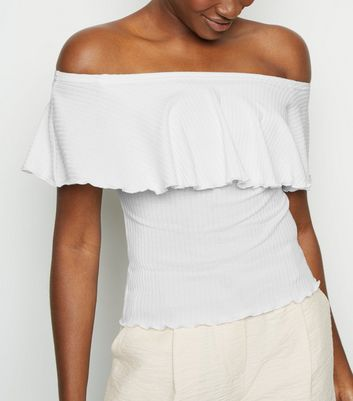 White Ribbed Frill Bardot Top