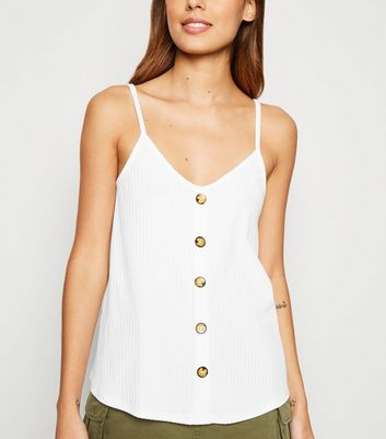 Off White Ribbed Button Front Cami