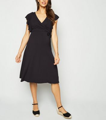 Maternity Black Frill Wrap Dress