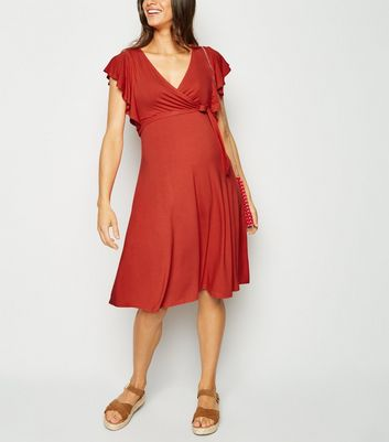 Maternity Red Frill Wrap Dress