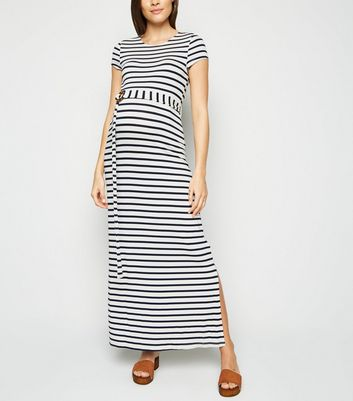 Maternity White Stripe Belted Maxi Dress