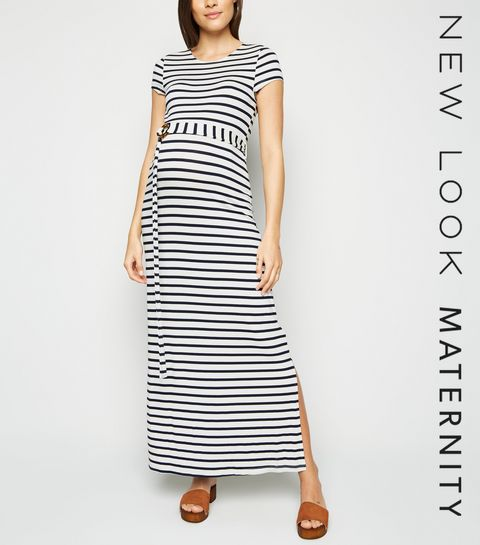 888de3716cf ... Maternity White Stripe Belted Maxi Dress ...