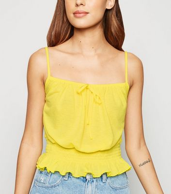 Pale Yellow Neon Tie Front Shirred Waist Cami